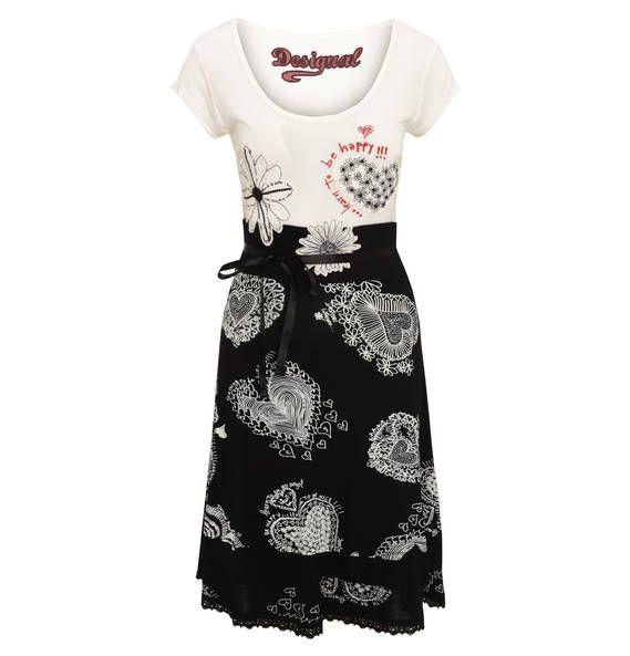 """Desigual Kleid """"Roxana"""", Stickereien, Spitzen-Borte schwarz-wollweiß"""