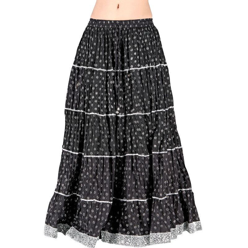 Rajasthani Black Booti Pure Cotton Long Skirt -190 | COSAS PARA ...