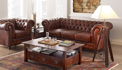 Chesterfield einrichtung  set Chesterfield red by massivum (real leather) | Sofas, Sessel ...