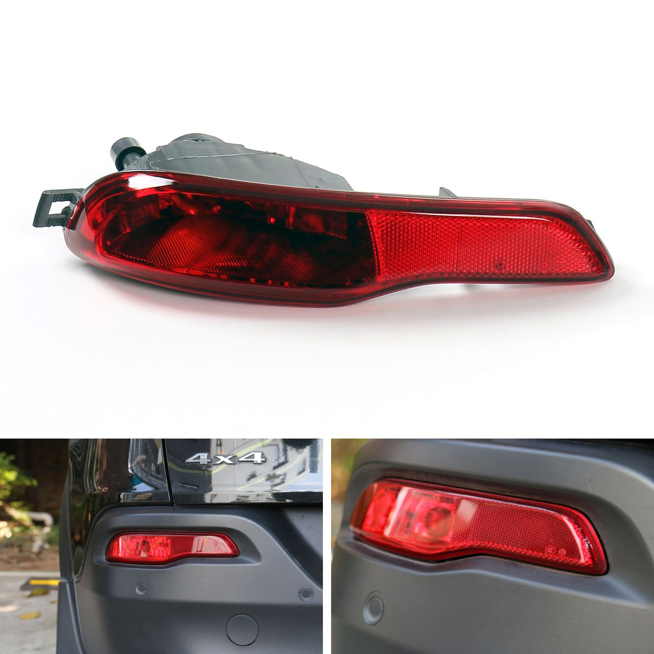 Red Lens Rear Bumper Reflector Fog Brake Light Left Cherokee 2014 2016 Jeep Cherokee 2014 Jeep Cherokee Bumpers