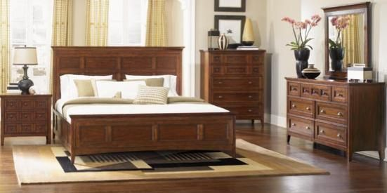 Lowest Price Online On All Magnussen Harrison Panel Bed 3 Piece Bedroom Set  In Cherry Finish