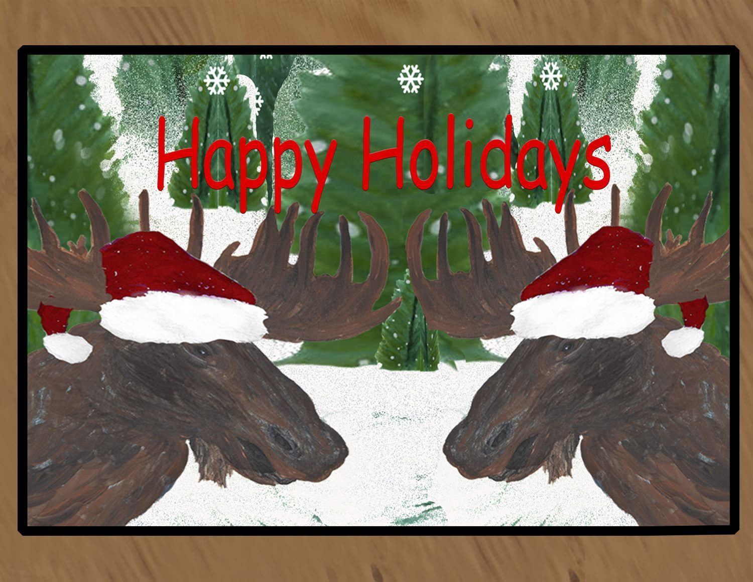 Santa moose Holiday art floor mat
