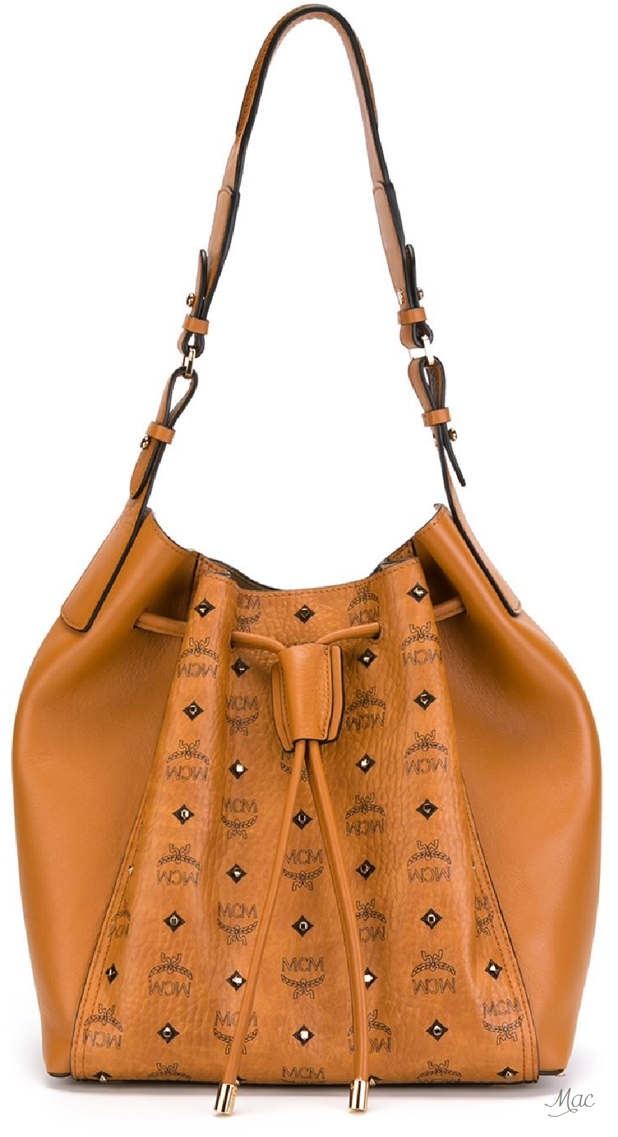 Mcm Gold Visetos Drawstring Bucket Bag Bucket Bag Bags Drawstring Bucket Bag