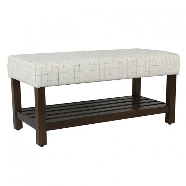 Delicieux Decorative Bench With Storage   Cream Windowpane | HomePop