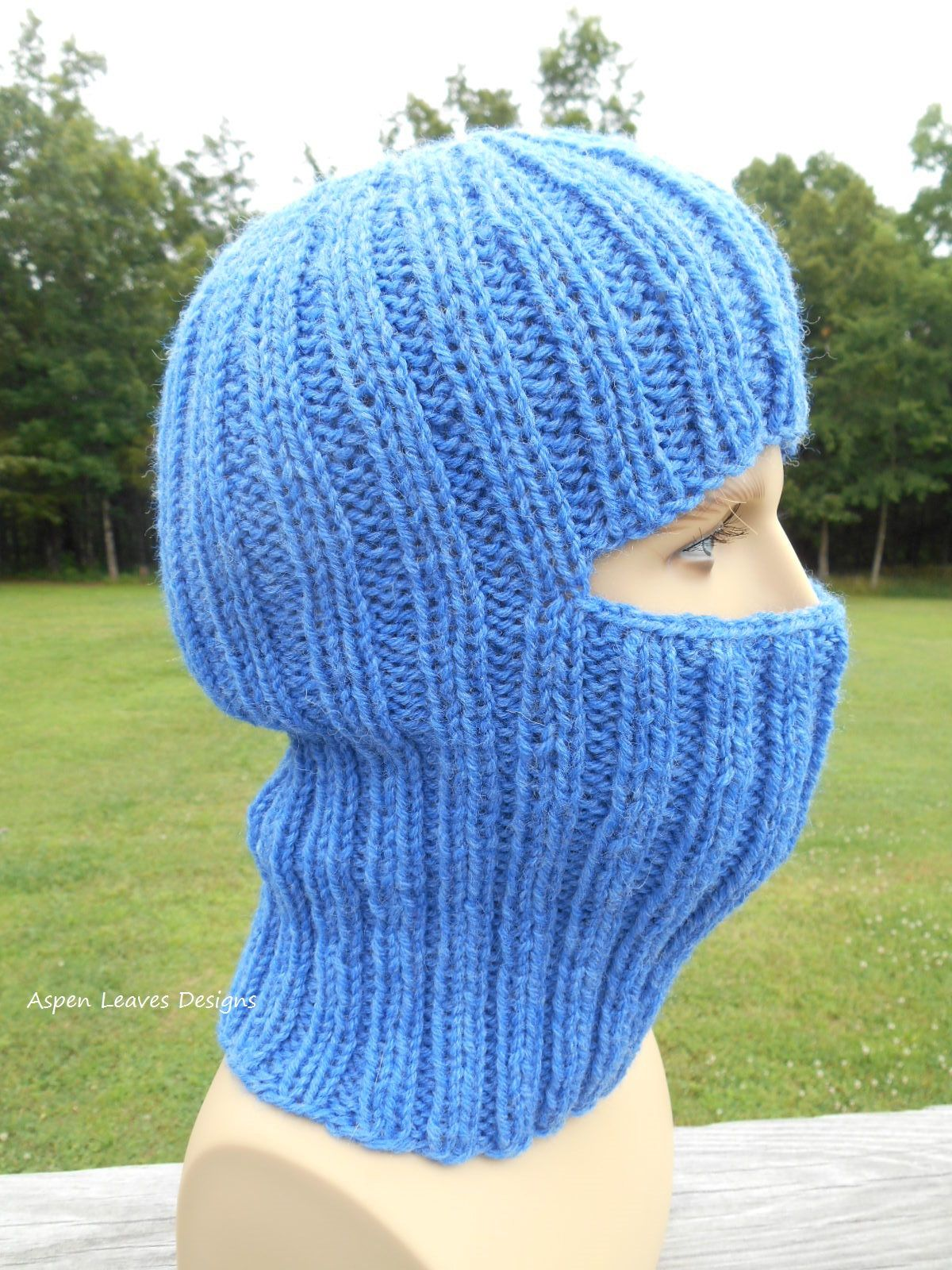 Adult Balaclava in medium blue. Full face covering winter ski mask ...