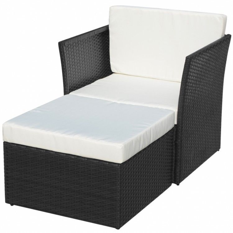 Patio Chair With Ottoman Five Piece Garden Chair Set Rattan Black - gartenmobel polyrattan eckbank