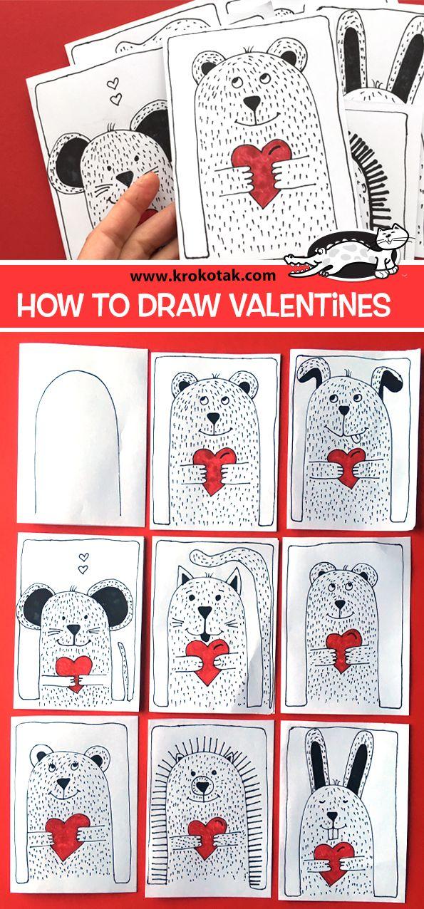 Krokotak How To Draw Valentines Kunst Valentines Valentine