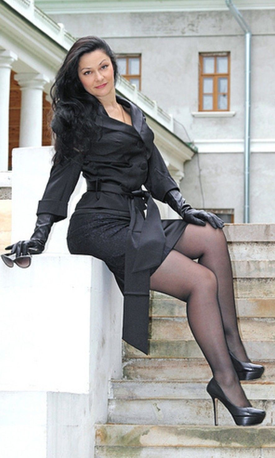 Sexy dark nylons with french heel you
