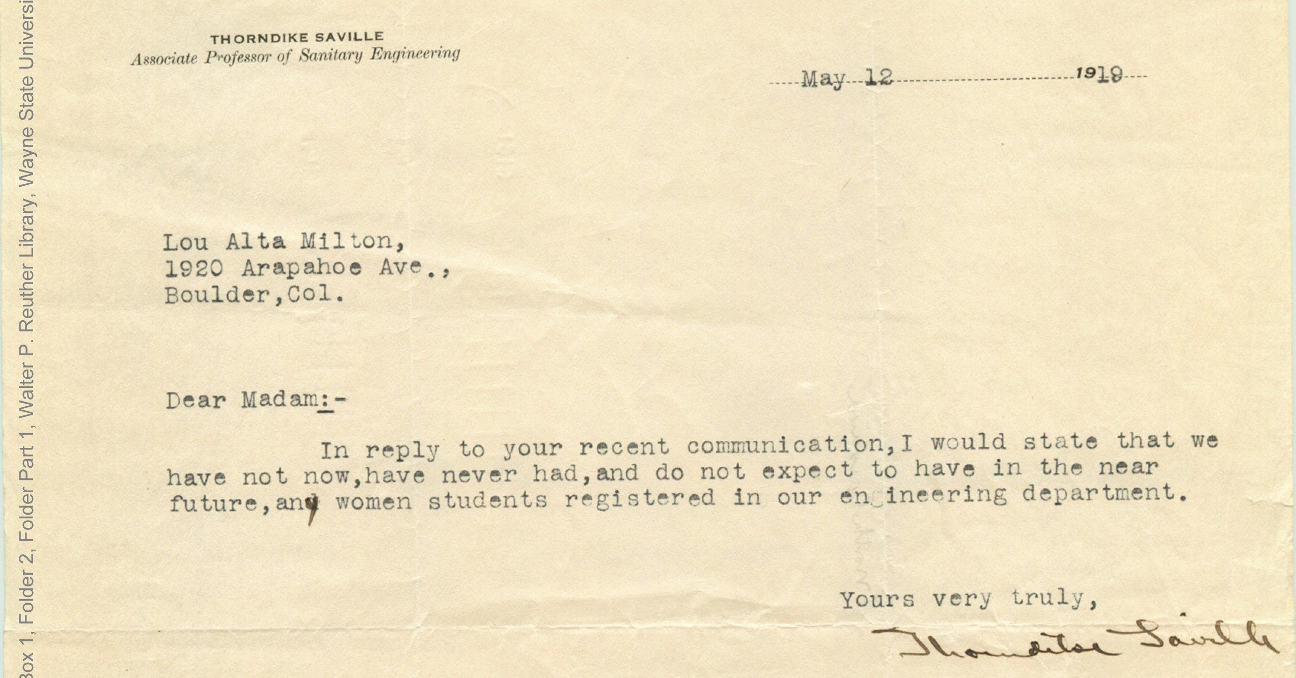 These Rejection Letters Sent To Female Engineering School