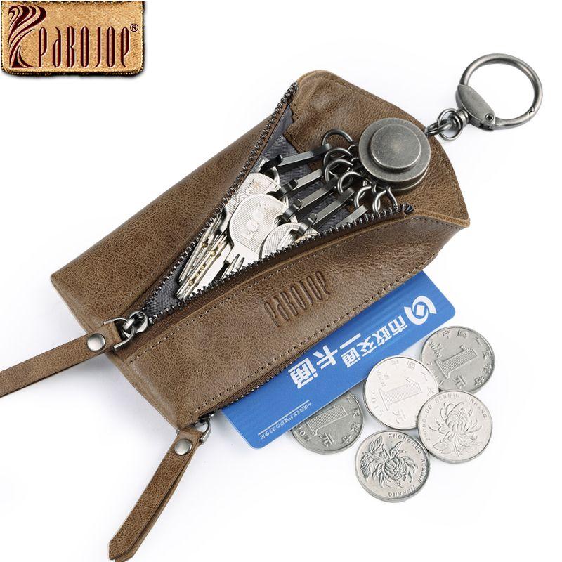 8ca05d38d2358 Pabojoe Key Wallet 100% Genuine Leather Women Men Oversized Zip Around Key  Case Car 6