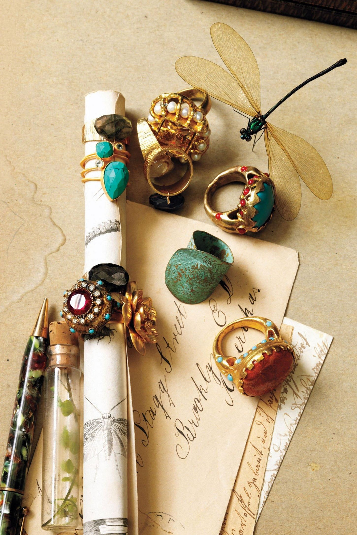 Not into the whole chunky-rings-thing, but I wouldn't mind wearing these from Anthropologie