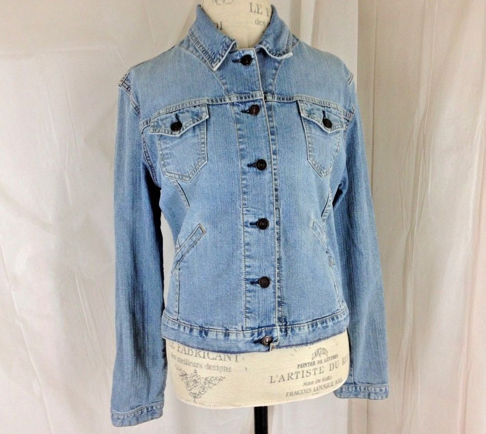 VTG Womens LEVIS STRAUSS Blue Denim Jean Jacket button up Coat ...