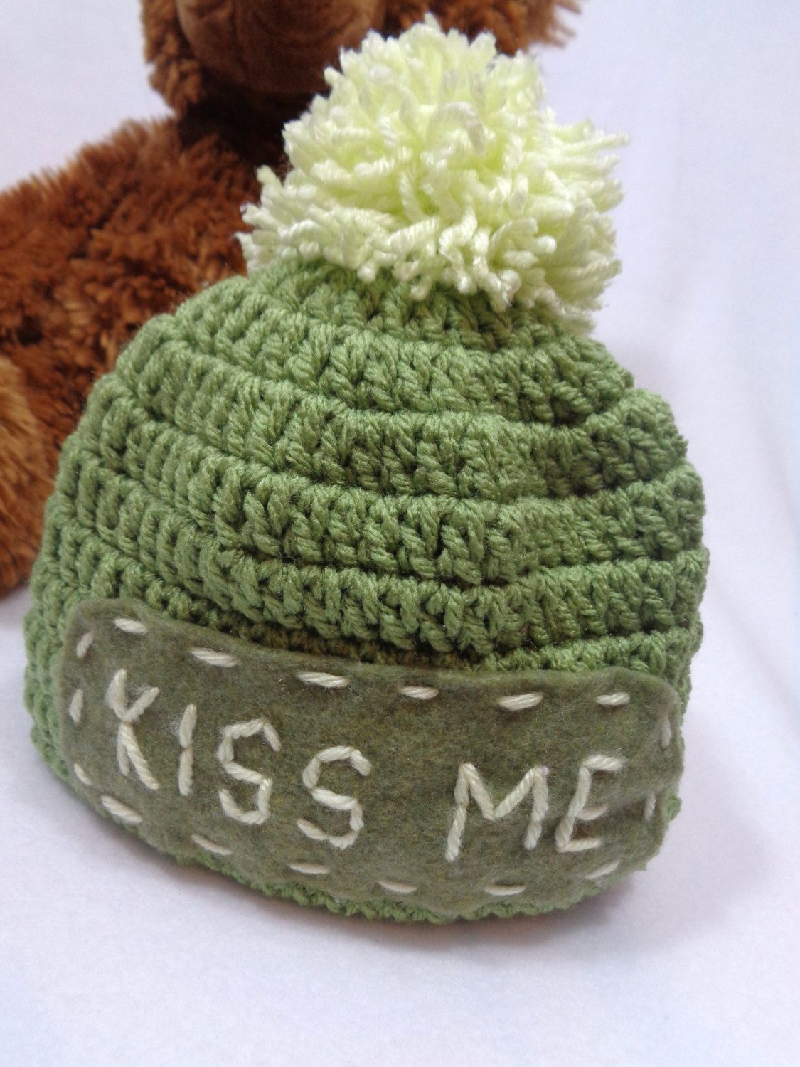 0ae6e7a01db5c4 St. Patrick's Day Hat, Olive Green Kiss Me Cap, Irish Pom Pom Hat, MADE TO  ORDER Gift for Irish Baby, Present for St. Patty's Day Baby by ...