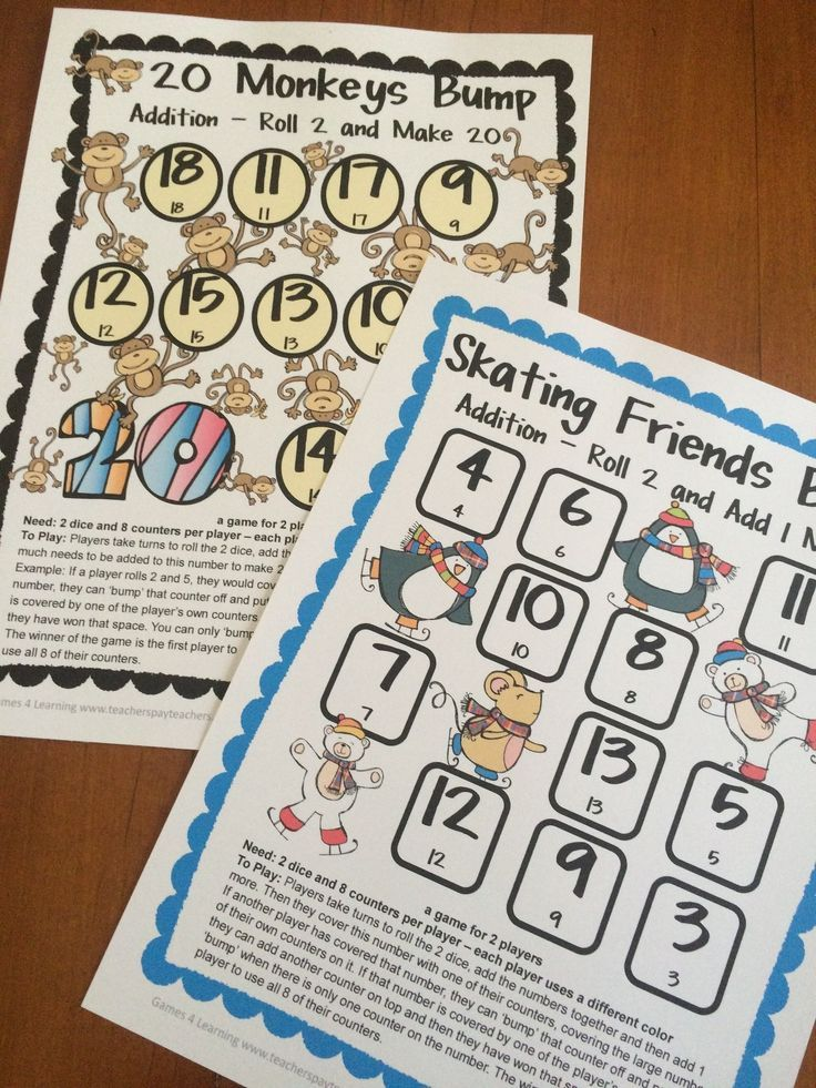 2 printable math bump games for addition from Games 4 Learning! A ...