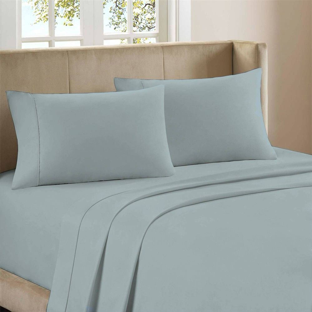 Full 300 Thread Count Organic Cotton Brushed Percale Sheet Set Aqua Purity Home Best Bed Sheets Solid Sheet Sets Sheet Sets 300 thread count cotton sheets