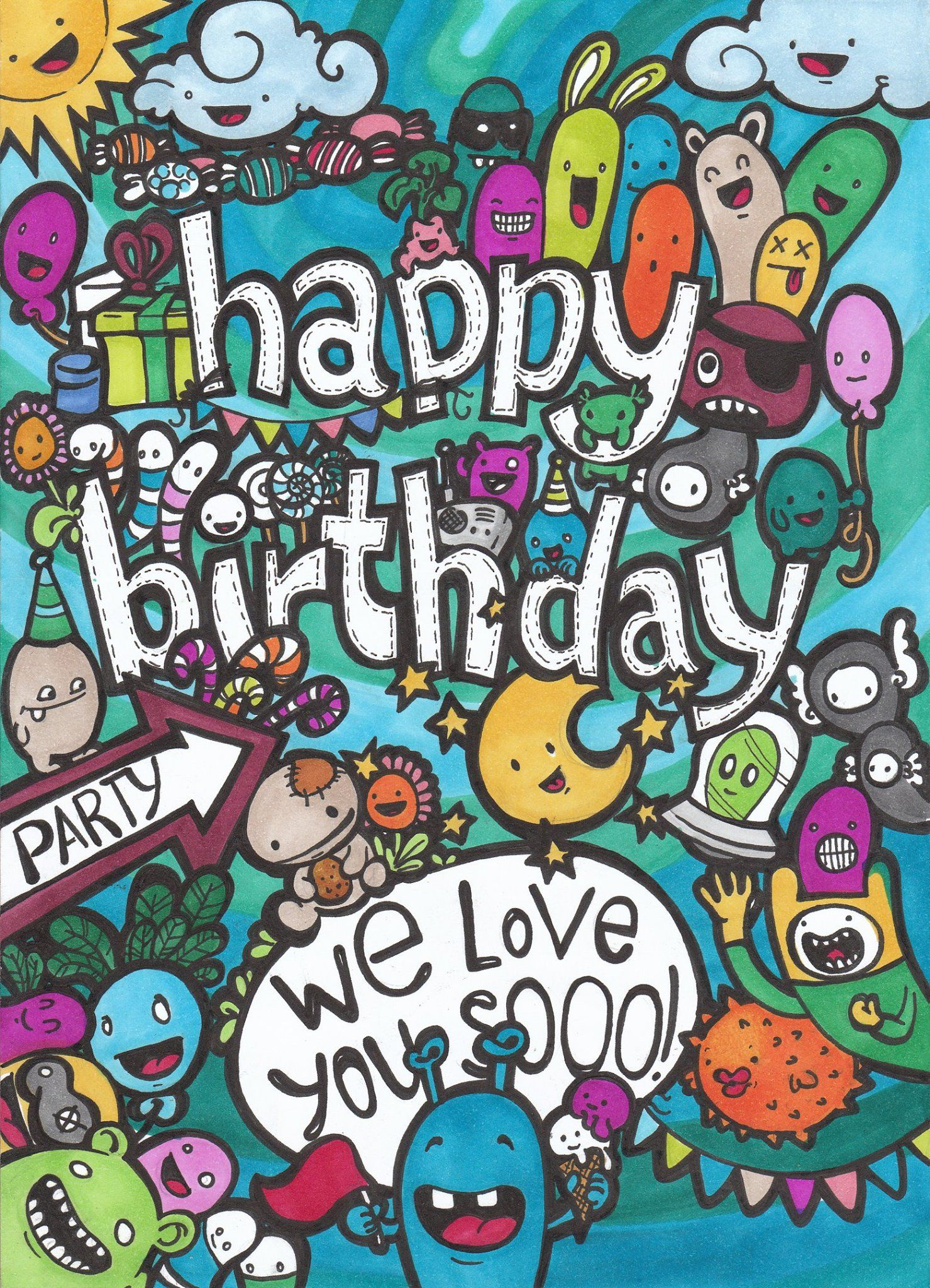 Doodle Doodleart Art Color Happybirthday Birthday Greetingcard Card