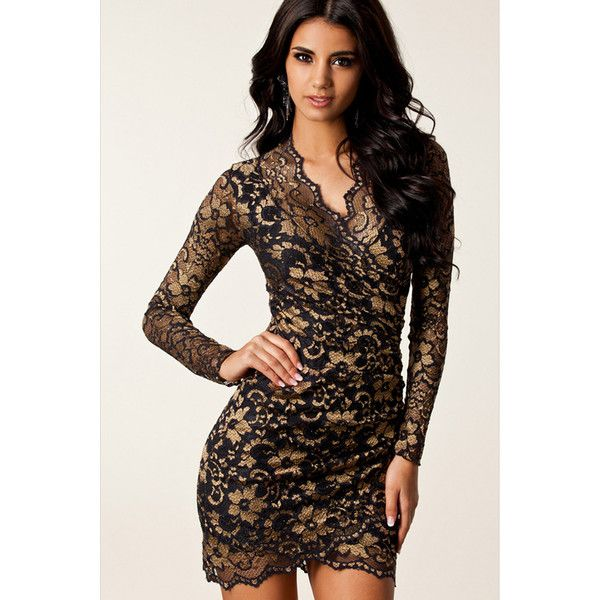 Gold Charming Womens Long Sleeve Embroidered Bodycon Dress ($33) ❤ liked on Polyvore