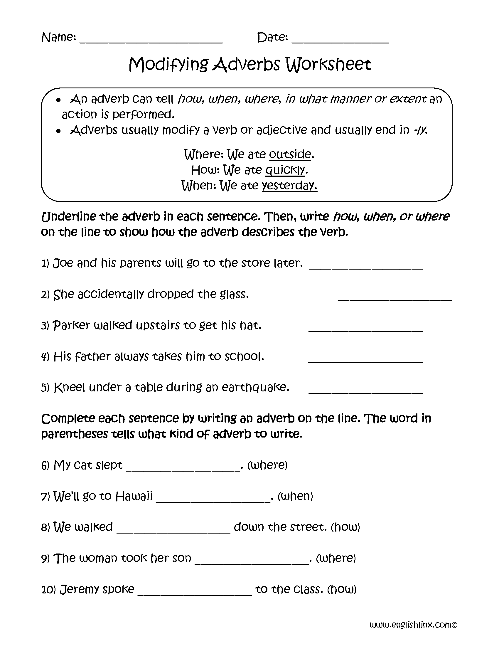 Modifying Adverbs Worksheets   Adverbs worksheet [ 2200 x 1700 Pixel ]
