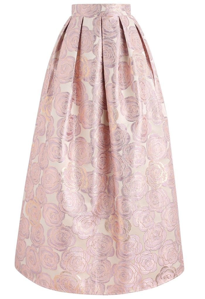 07349ff378 Let's get fancy in this maxi skirt with its elegant floral detail in a  sophisticated jacquard fabric. - Rose pattern - Box pleats from waist -  Concealed ...