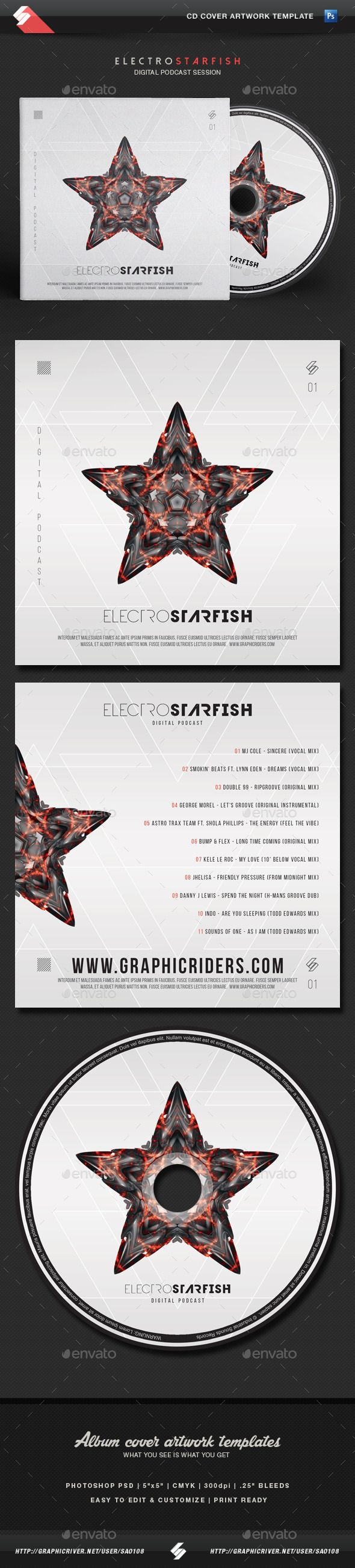 #Electro Starfish - CD Cover Artwork #Template - #CD & #DVD #Artwork Print Templates Download here: https://graphicriver.net/item/electro-starfish-cd-cover-artwork-template/11646467?ref=alena994