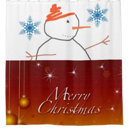 #Snowman Merry Christmas shower curtain - #Xmas #ChristmasEve Christmas Eve #Christmas #merry #xmas #family #kids #gifts #holidays #Santa