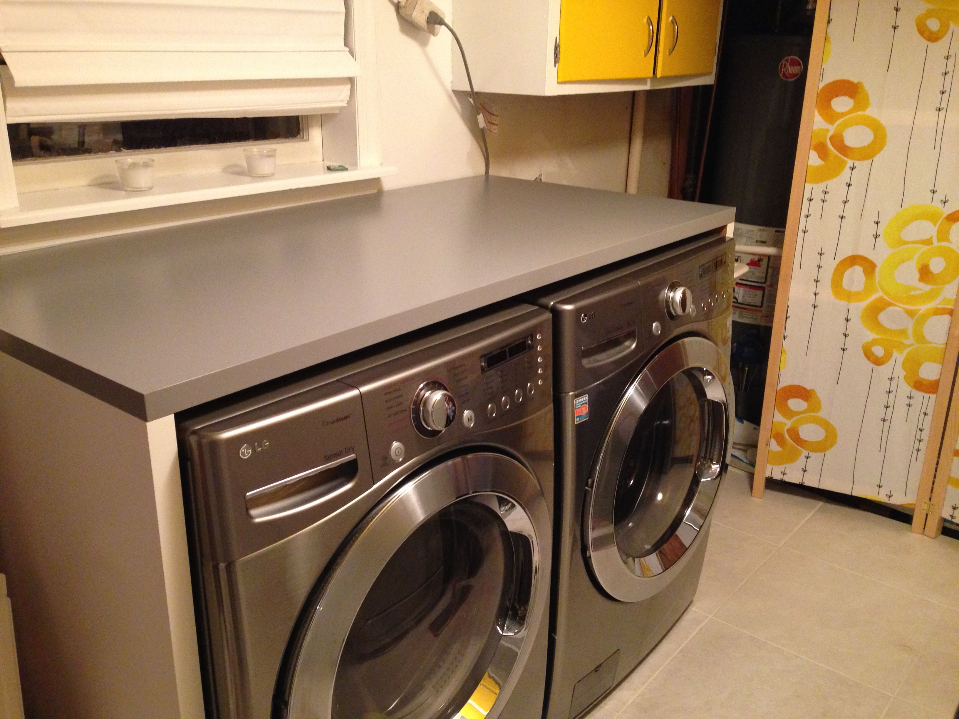 Ikea Linnmon tabletops to build counter around washer and dryer
