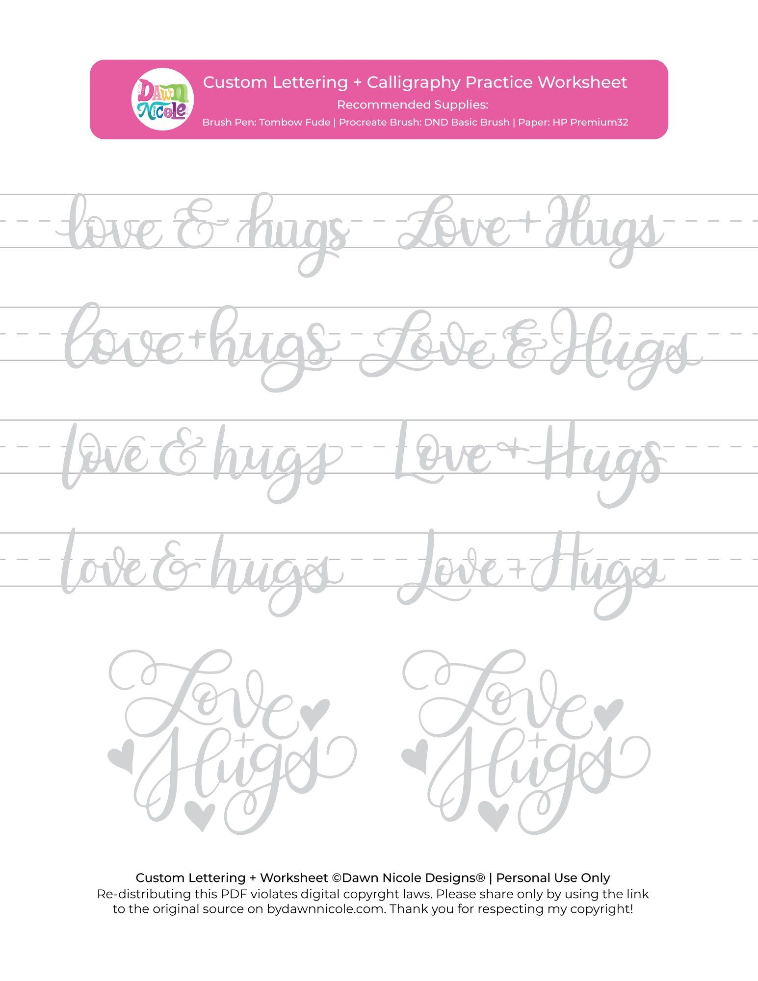Love Hugs Brush Calligraphy Practice Sheets