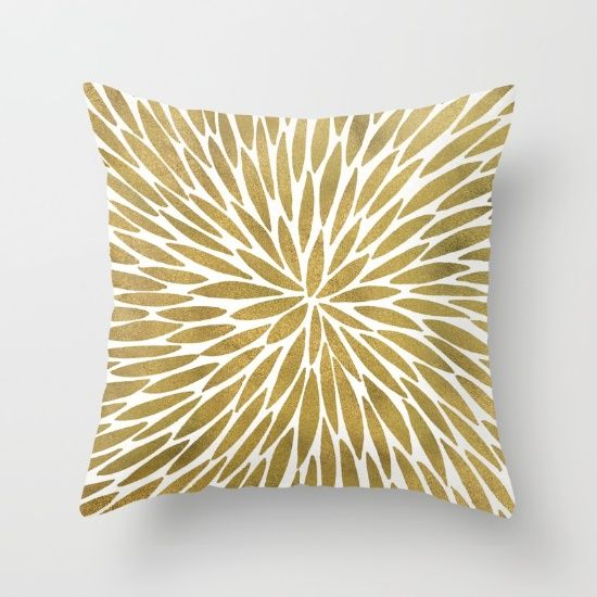 Golden Burst Throw Pillow By Cat Coquillette Society6 Throw Pillows Rose Gold Pillow Gold Pillows