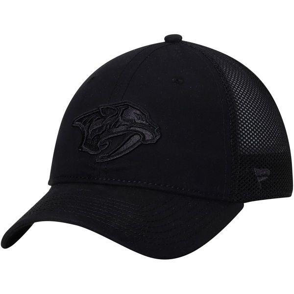 reputable site 72812 19682 Men s Nashville Predators Fanatics Branded Black Indestructible Blackout  Trucker Adjustable Snapback Hat 1 Predator, Snapback