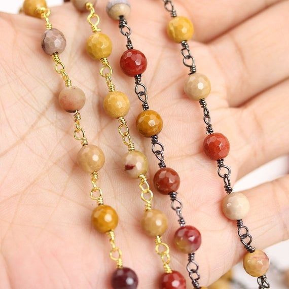 10feet/lot Faceted Mookaite Beaded Chains Rosary Jewelry,6mm Cut Stones Loose Beads Wire Wrapped Copper Connectors Chains Findings #rosaryjewelry