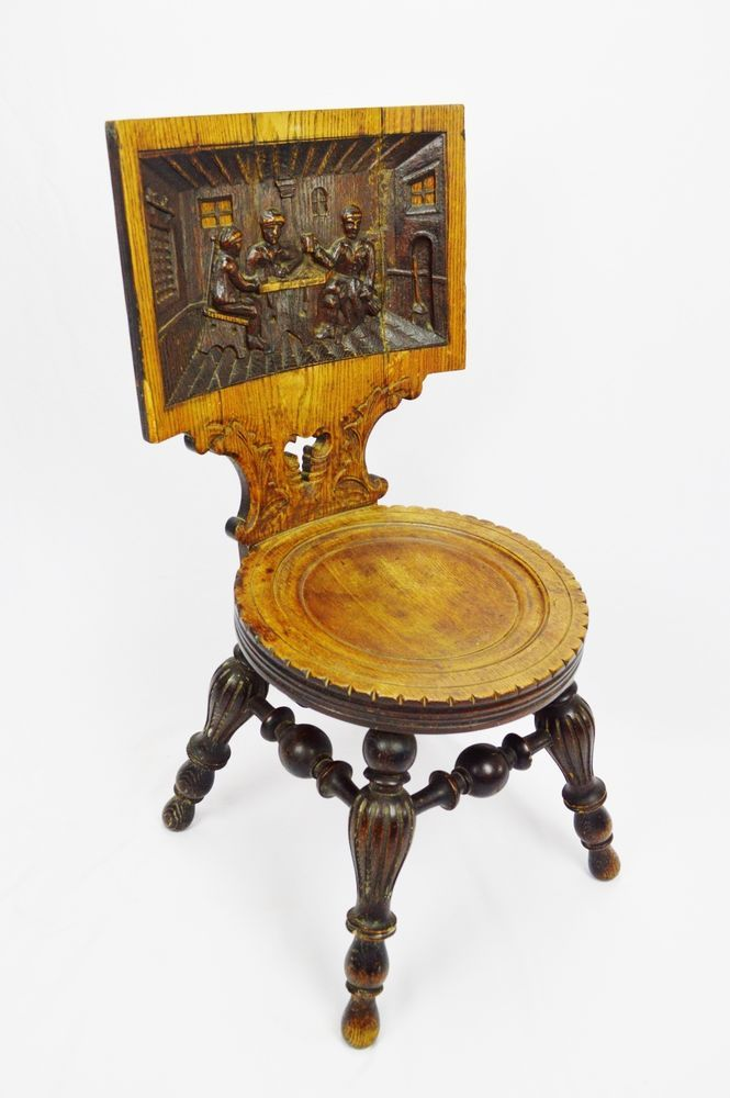 Antique Victorian Hand Carved Oak Pub Chair With Tavern