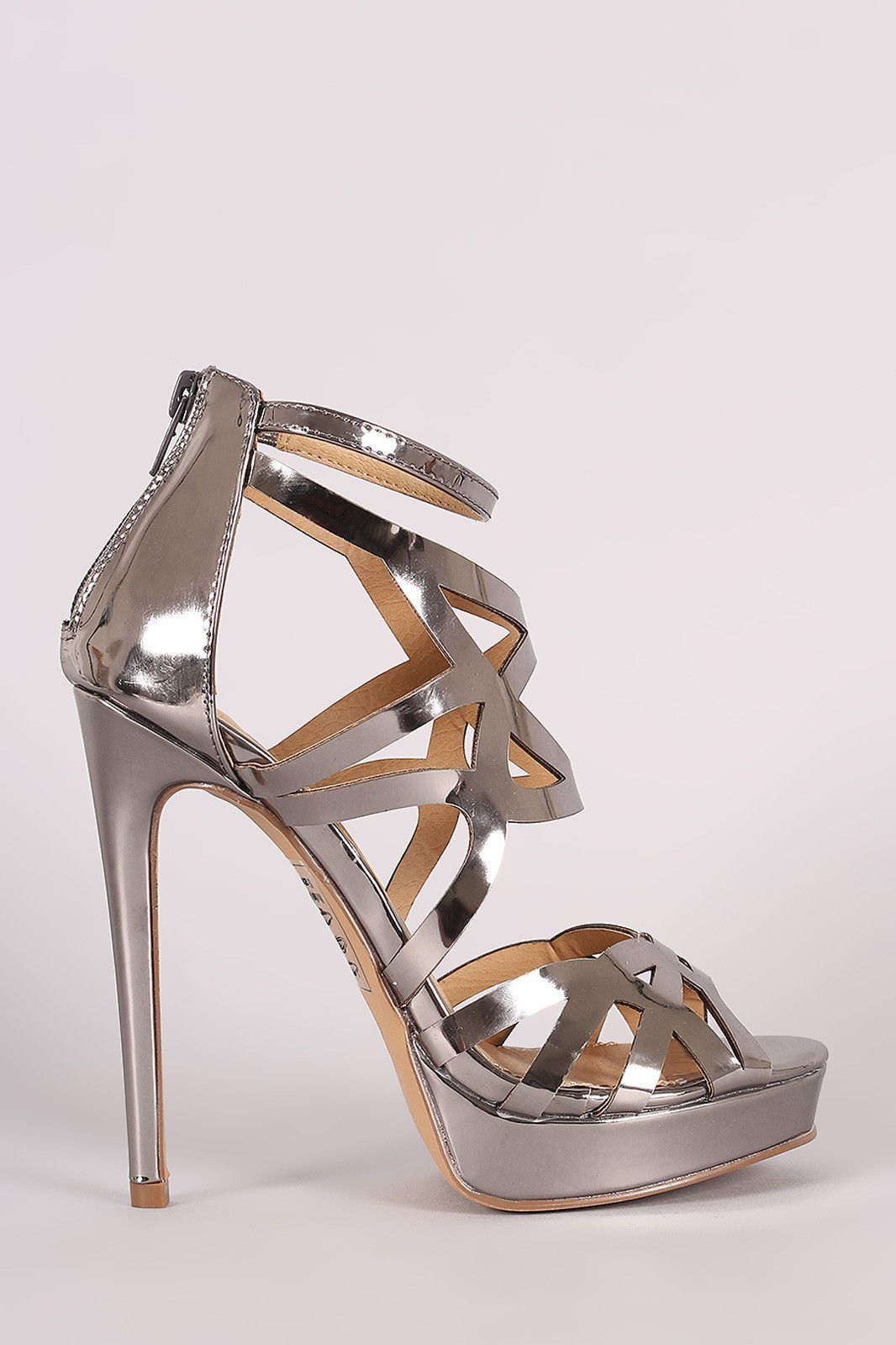 Shoe Republic LA Mirror Metallic Caged Stiletto Platform Heel