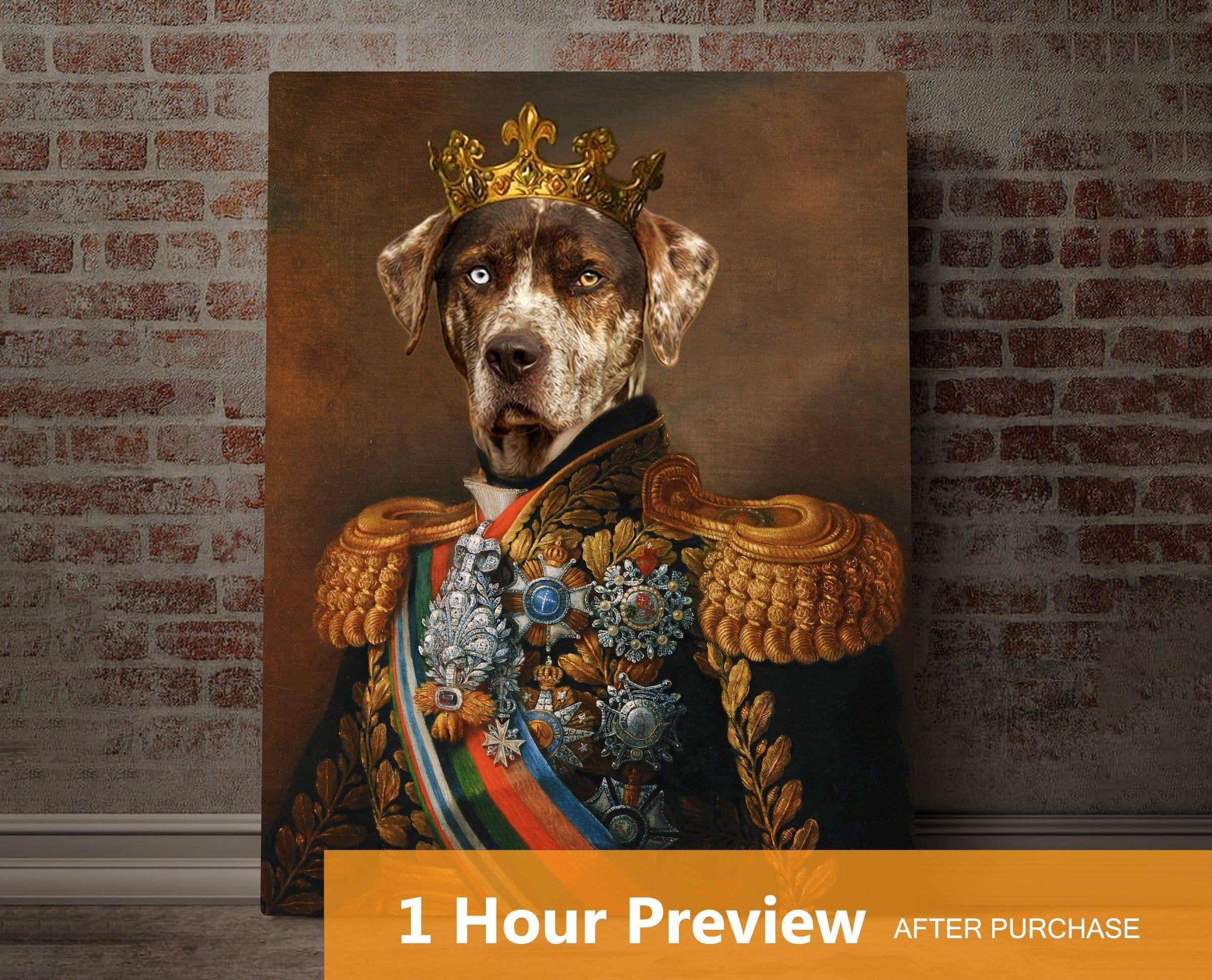 Custom dog portrait,dog portrait custom,royal dog portrait,royal pet portrait,custom pet portrait,unique gift,dog king,pet painting,dog gift
