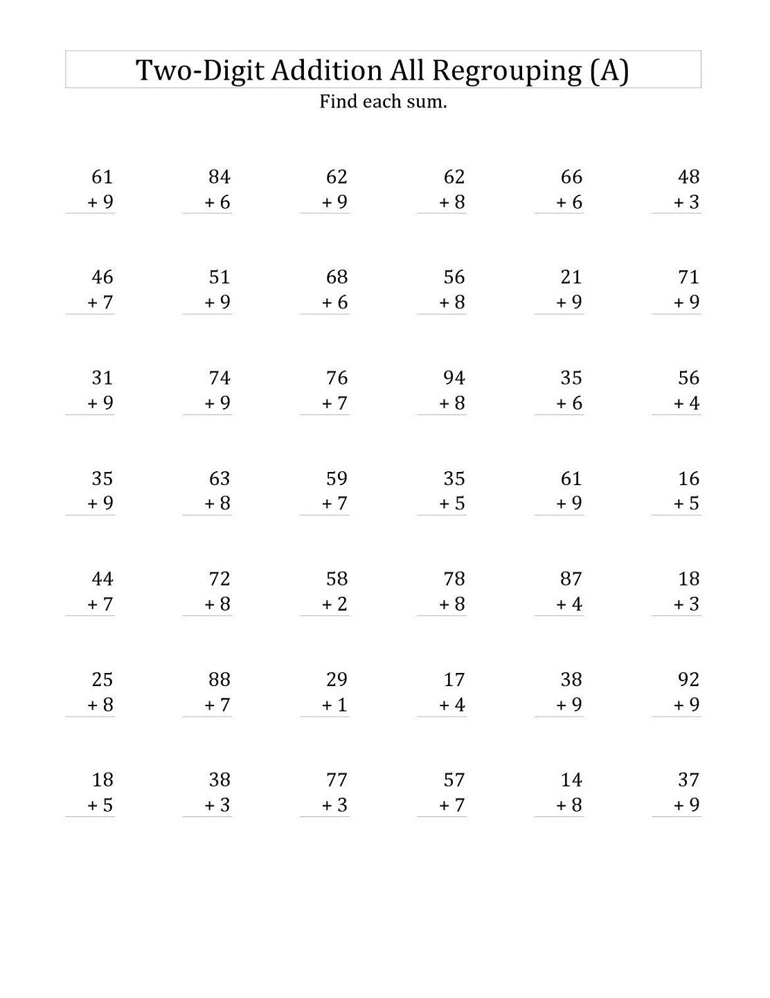 small resolution of 2 Digit Math Worksheets   Addition worksheets