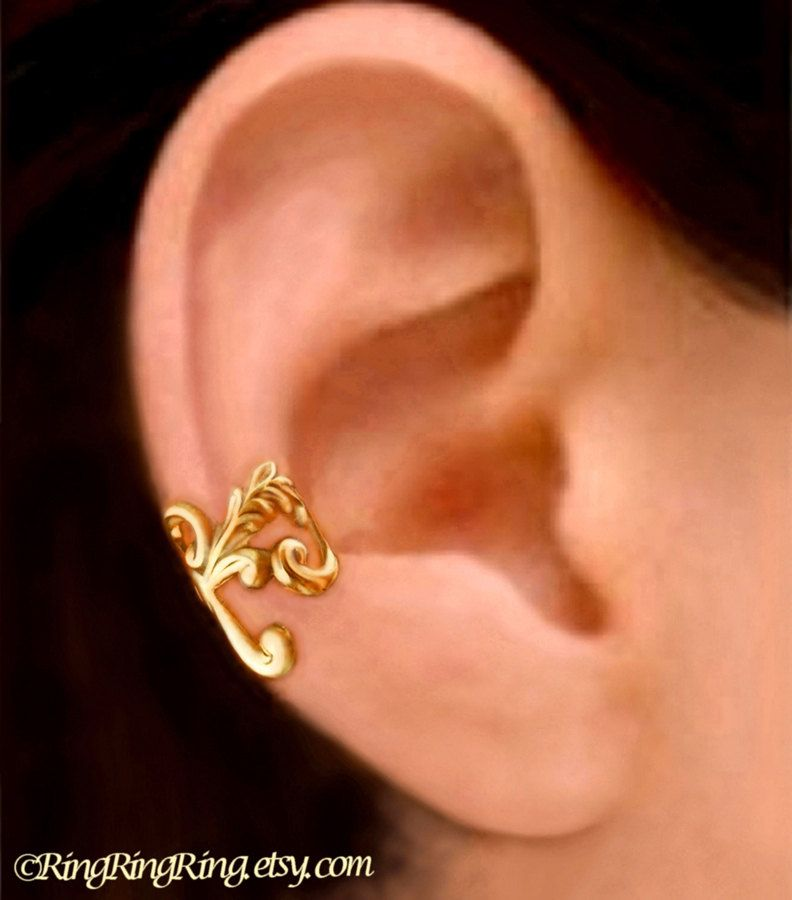 24K Gold Empire ear cuff earrings jewelry - Right earcuff for men and women 111012. $45.00, via Etsy.