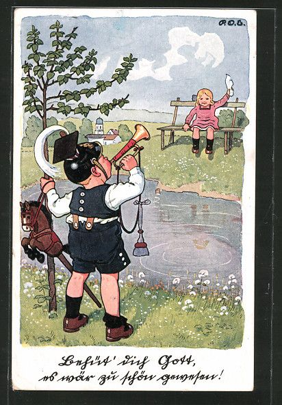 carte postale ancienne: CPA Illustrateur P. O. Engelhard (P.O.E.): Behüt' dich Gott..., kleiner Trompeter et Fille