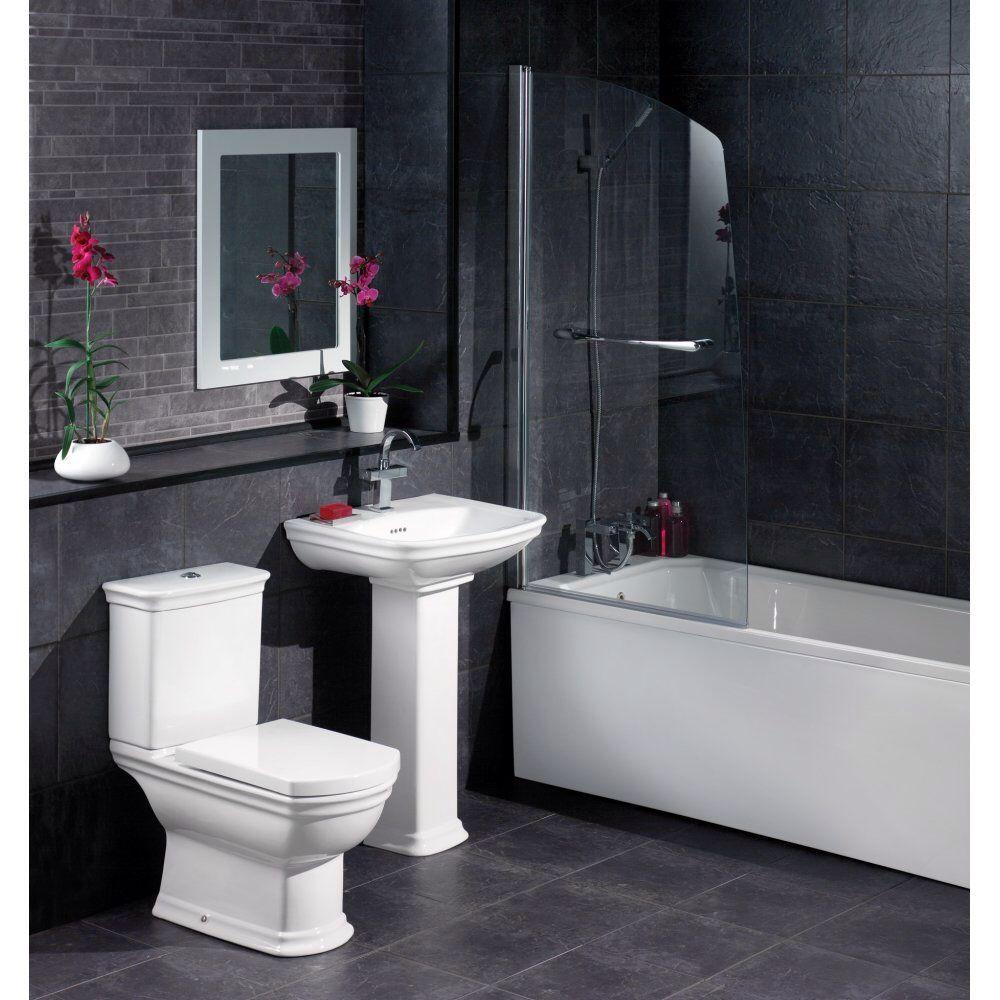 White Vanity Grey Wall Dark Tile