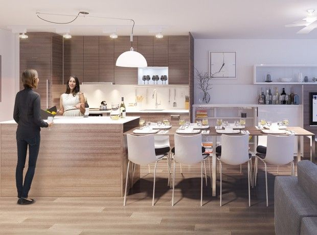 Integrated dining table with kitchen island for modern apartment by bosaspace kitchen ideas - Islands dining room ...