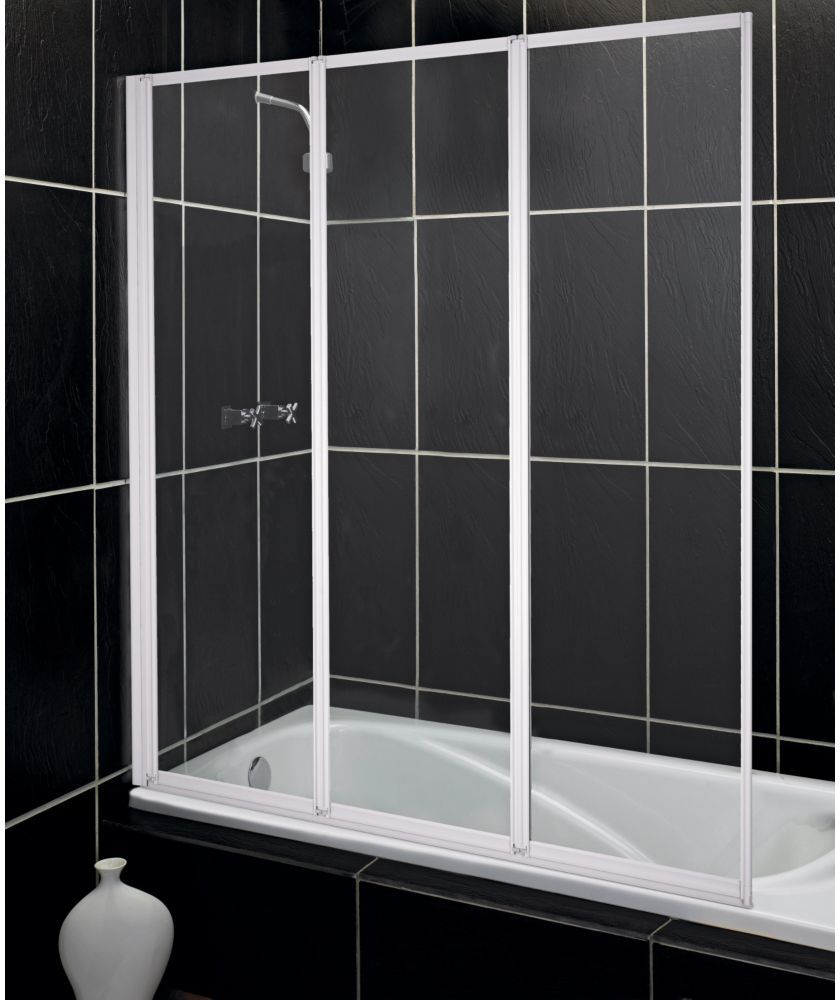 Buy Fully Framed White 3 Fold Shower Screen with Tray at Argos.co.uk ...