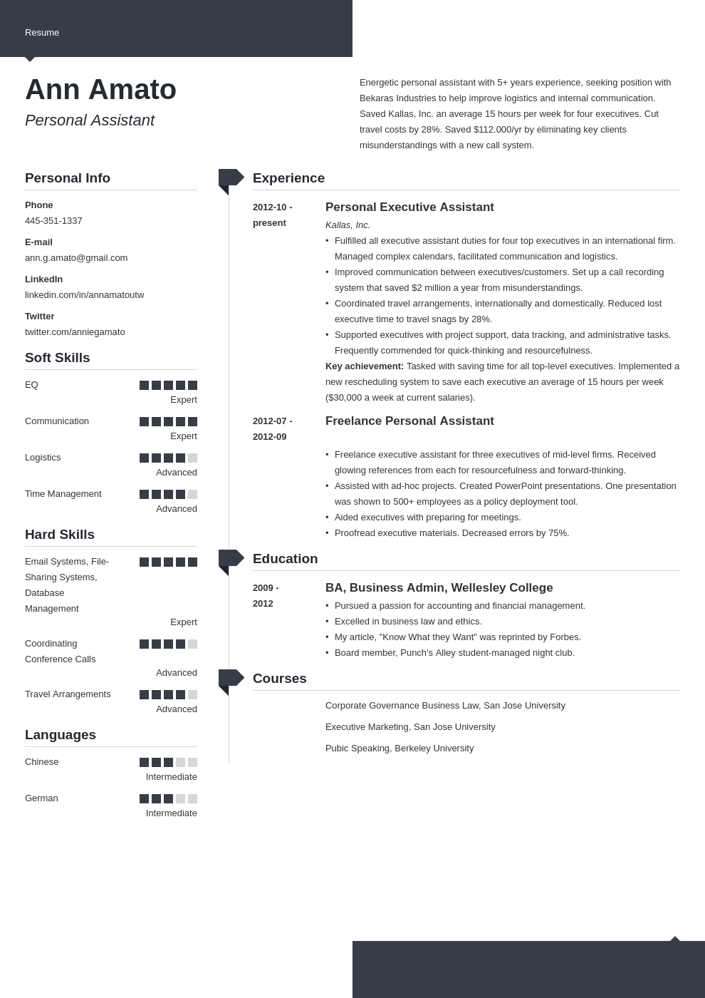 personal assistant resume example template modern in 2020