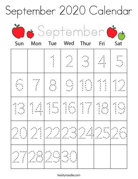 September 2020 Calendar Coloring Page - Twisty Noodle in ...
