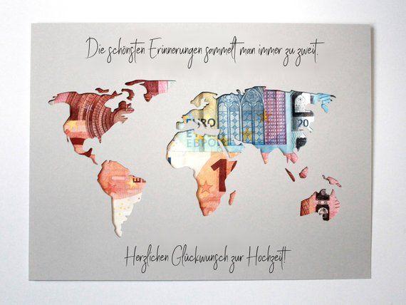Geldgeschenk zur Hochzeit Weltkarte Farbwahl Hochzeitsgeschenk individuell #personalizedwedding
