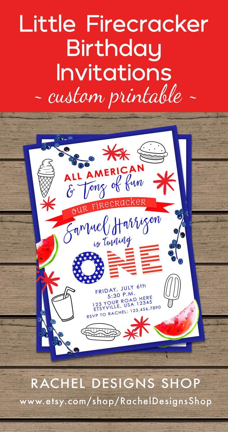 On 4th Of July Just This One Time I >> Our Little Firecracker Invitation Our Little Firecracker Invite
