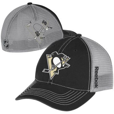 07cce8c7072 Reebok Pittsburgh Penguins Team Slouch Mesh Back Flex Hat - Black Gray