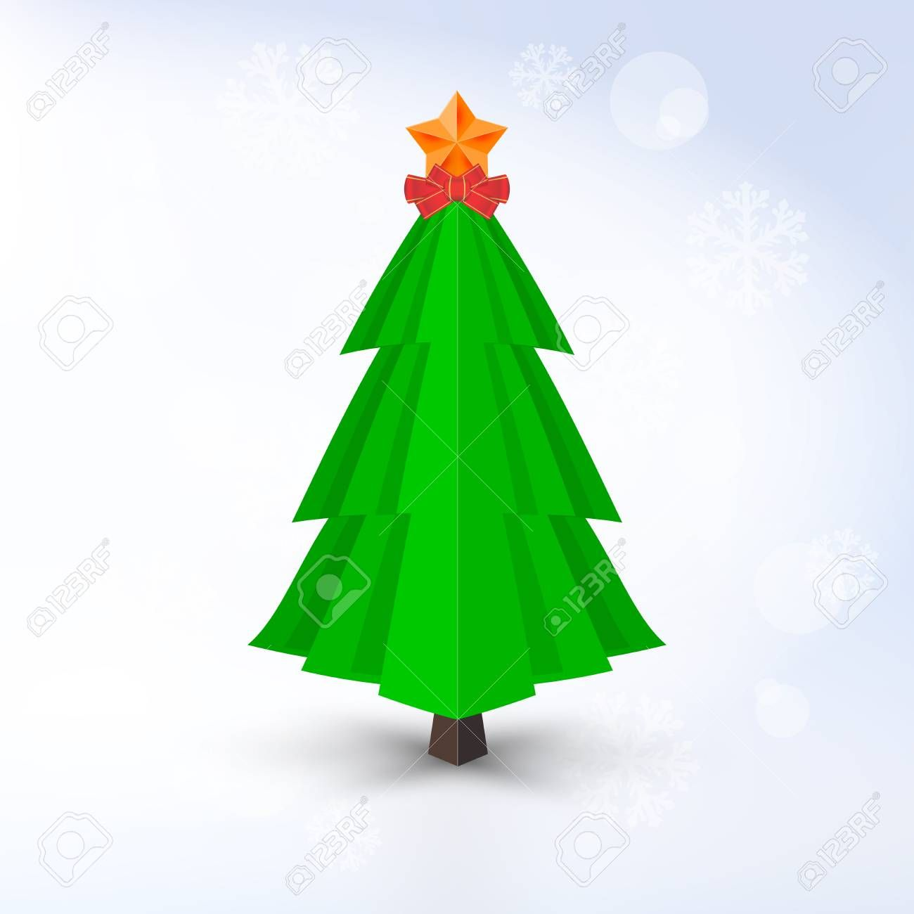 Decorative Vector Christmas Tree With Golden Star And Red Bow On Light Background Barely Distinguisha In 2020 Christmas Tree Lighting Lights Background Christmas Tree