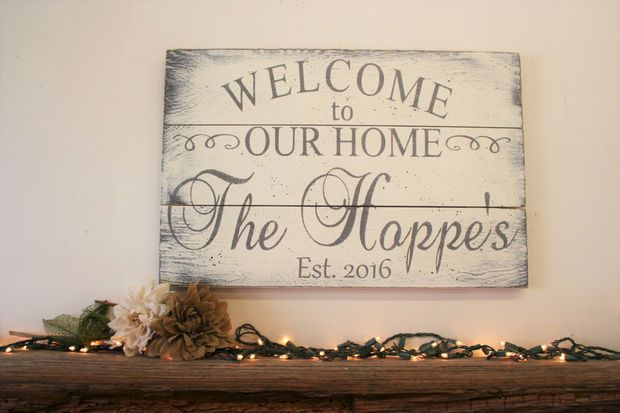 Welcome To Our Home Pallet Sign Wedding Gift Bridal Shower Gift Housewarming Gift Closing Gift Personalized Name Sign Shabby Chic Decor