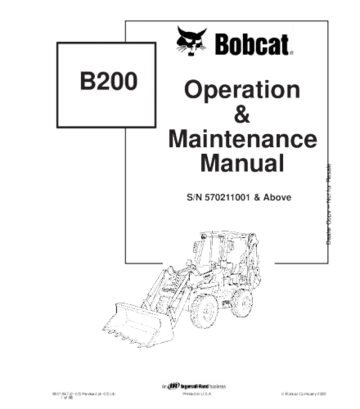 Bobcat b200 backhoe loader operation and maintenance