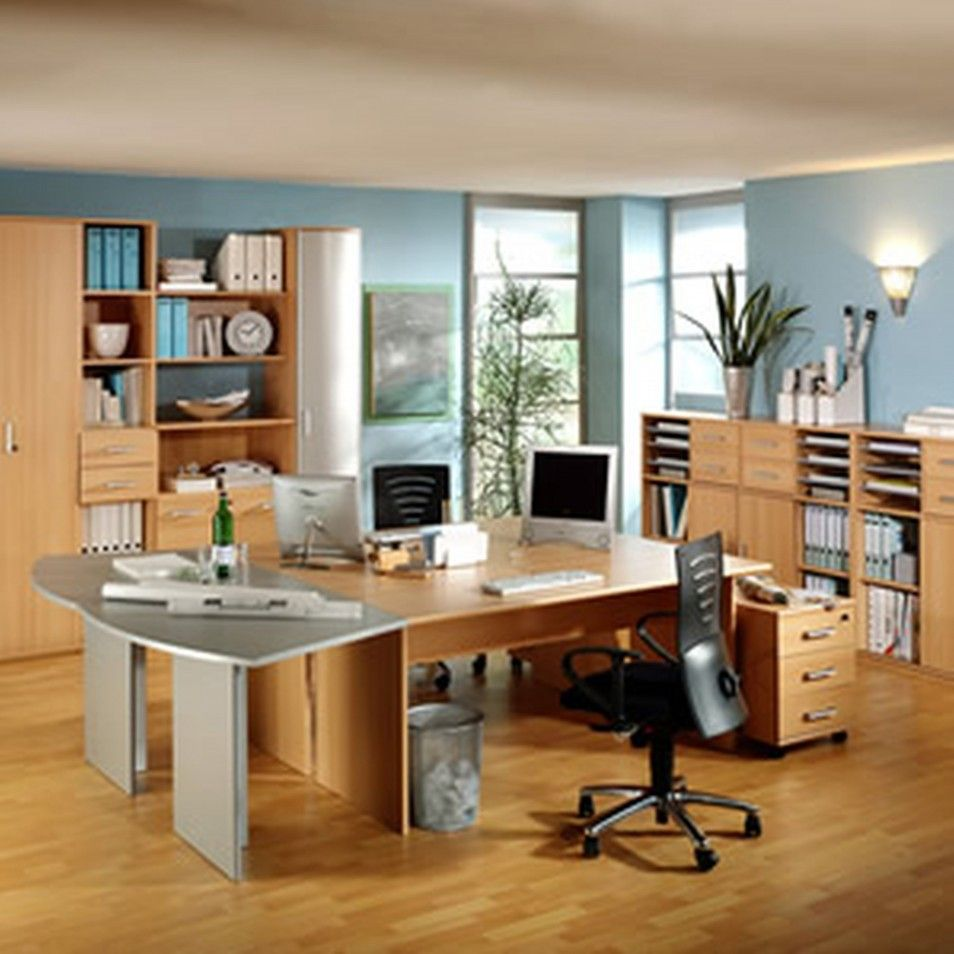 Home office in living room home office design agreeable for Office space decorating pictures