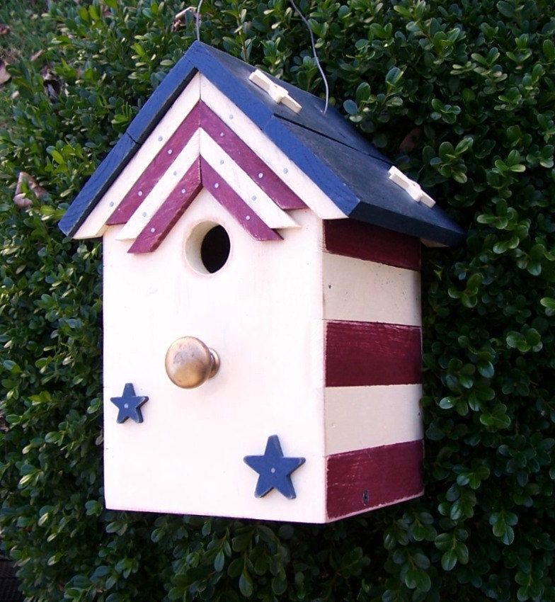 Patriotic Birdhouse with Bunting by okawvalleybirdhouses on Etsy