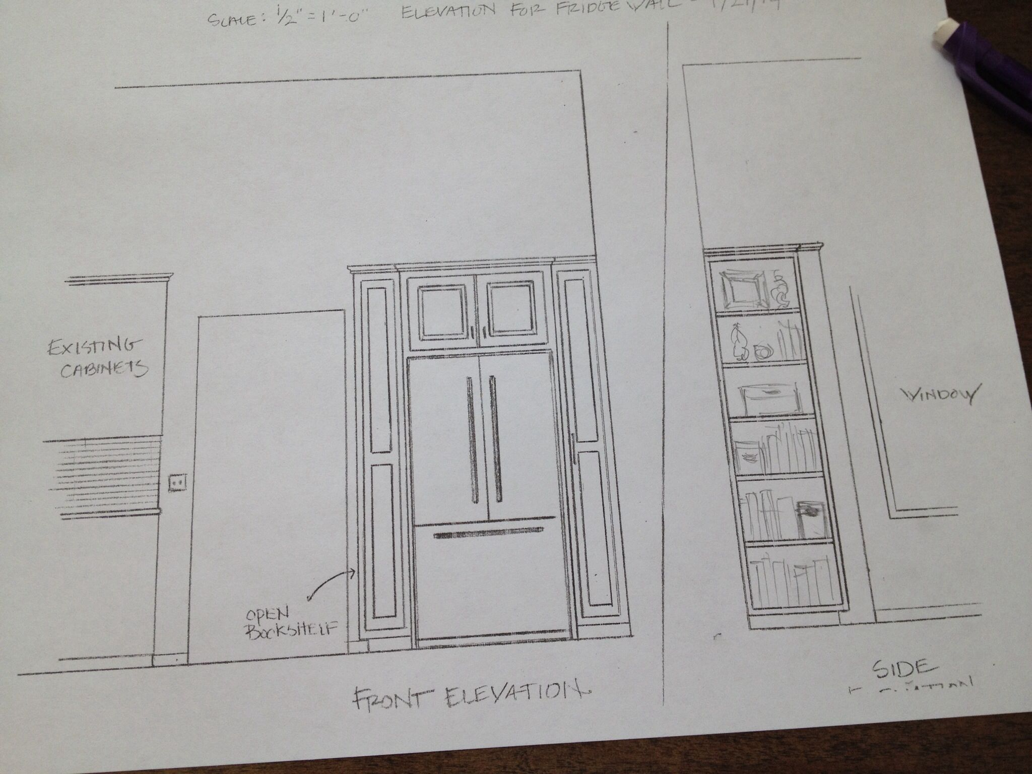 Elevation drawing of a fridge cabinet wall by sarah bernardy design llc